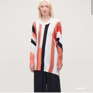 COS-Striped Assymetric Knit Top